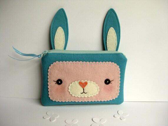 Blue Bunny Zipper Pouch