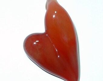 Carnelian Heart Lampwrok Pendant