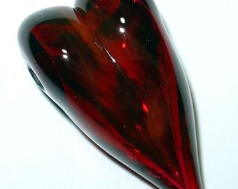 Reduced  Empty Love Hollow Heart Lampwork Focal Bead