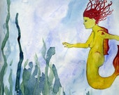 "Nude ""Freshwater Mermaid"", the Original Painting by Lea Keohane"