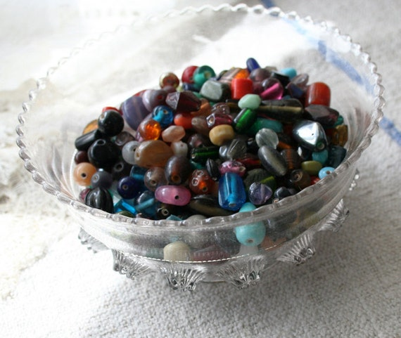 on sale - Two Pound Scoop of Glass BEADS - mixed lampwork and trade bead