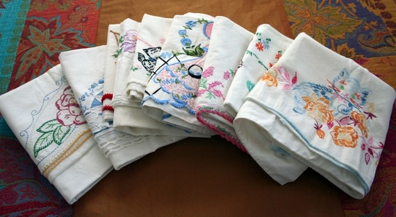 large lot of mixed vintage Pillowcases - embroidery pillowcase Deer Cat Kittens butterfly