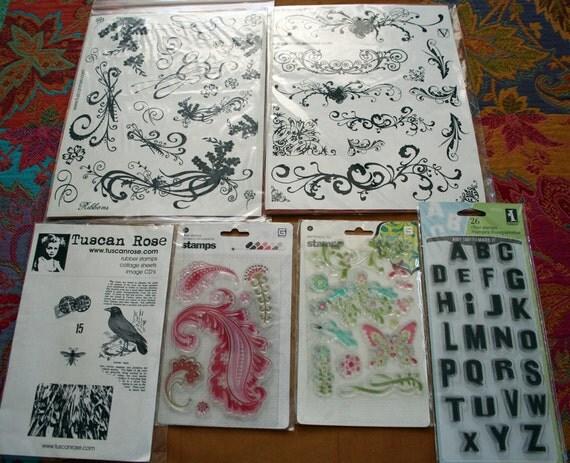 ON SALE - destash large lot Rubber Stamps - flourish bird alphabet background