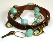 Leather and Amazonite Bead Wrap Bracelet