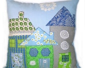 Vintage Fabric Applique House Pillow- Shabby Chic Blue & Green