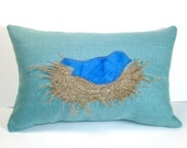 Linen Applique Bird's Nest Pillow with Bluebird
