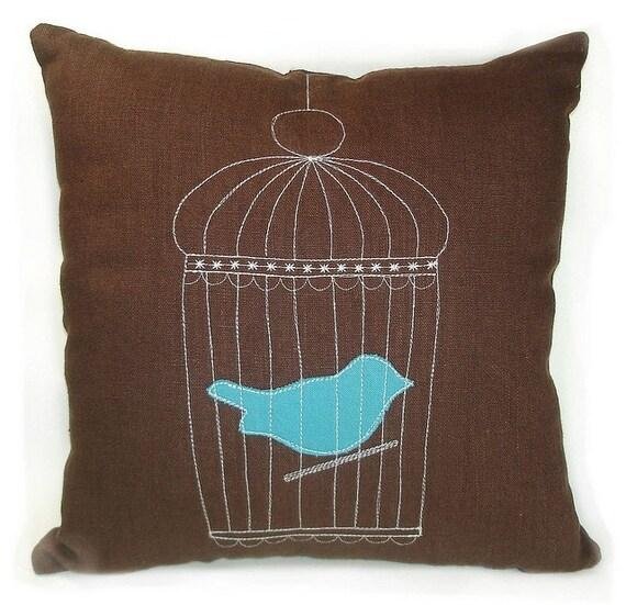 Vintage Fabric Applique Bird Cage Pillow