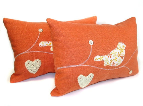 Special Order For Sonja- 2 Vintage Fabric Applique Lovebird Pillows with Antique Mother-of-Pearl Buttons- Orange