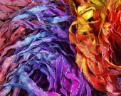 Hand Dyed Ribbon  INDIAN SUMMER  Sparkle Black Edge 4 yards