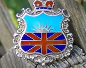 Vintage Enamel and Sterling Silver Hat Pin British Union Jack and Crown British Columbia