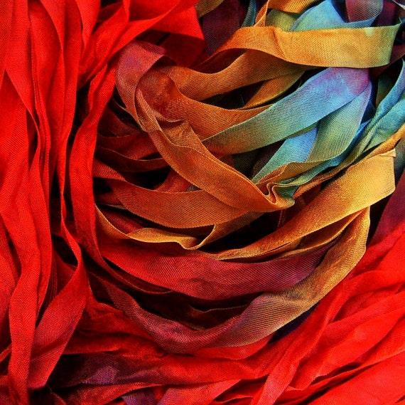 Hand Dyed Ribbon Firebird 1/2 Inch  7 yards