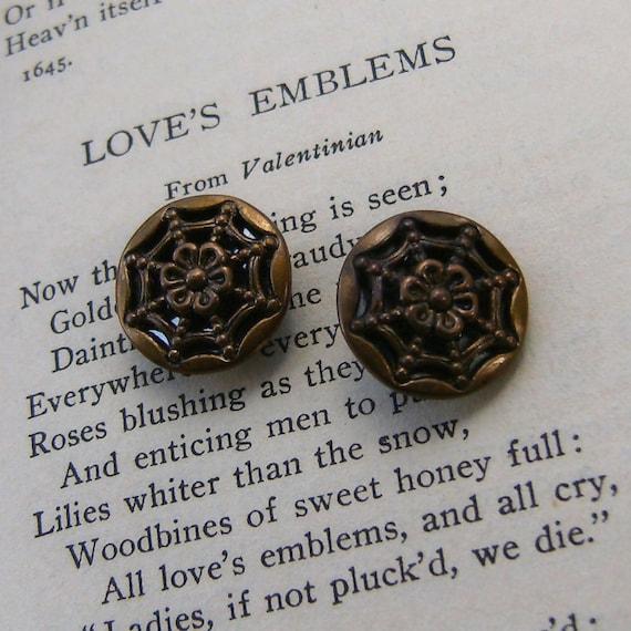 Vintage Metal Buttons Spider Web Gothic Edwardian Pair