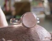 Round cabochon birthstone gemstone silver stacking ring - Geosphere