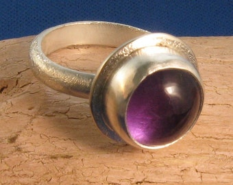 Big amethyst cabochon shield back silver ring -Professor Plum in the Library