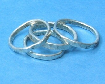 3 Stacking Rings thin hammered silver bands -Sprinkled
