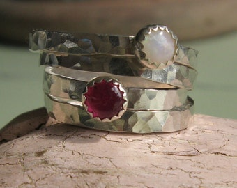 Ruby cabochon stacking ring hammered silver -My true heart
