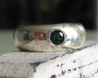 Solid Sterling Siver wide band wax cast emerald ring -Shamrock