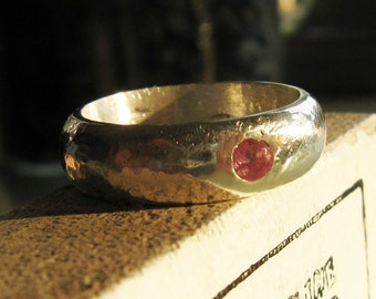 Handmade Siver ring Sapphire birthstone solid band  -Jujubee