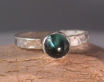 Blue tourmaline cabochon hammered silver stacking ring Indicolite -The Deep