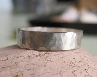 Hammered Silver Band hammered Ring - Bang Bang