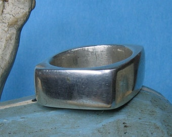 Square silver ring wide band - size 5.5 to 6.5 only