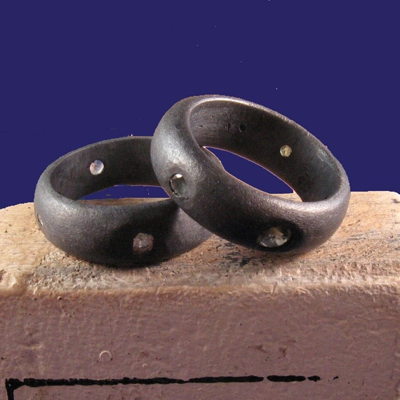 Blackened silver wedding ring Oxidized wide wedding band with sapphires -Vampira