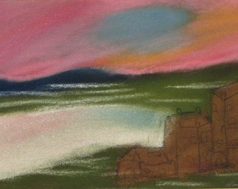 Castle dream, pastel painting