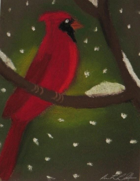 Cardinal pastel painting
