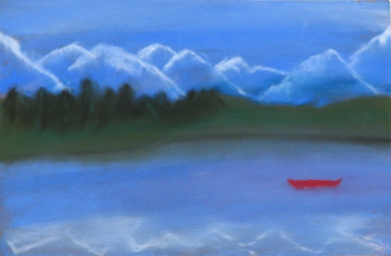 Solitary canoe, pastel painting