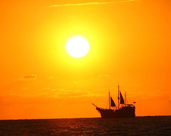 Ship at sunset, photograph