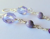Purple Crystal, Jade, and Sterling Silver Earrings