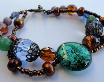 Double Stranded Earthy Beaded Bracelet