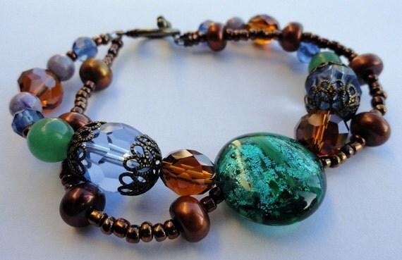 Double Stranded Earthy Beaded Bracelet
