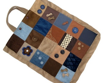 Bag - Eco Friendly, Sturdy (W-BAG-028), shopping bag, women accessory, patchwork bag, recycled materials bag, brown and blue bag