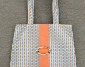 Tote Bag (W-BAG-036), sixties style tote bag, women accessory, handbag, shoulder bag, orange and pastels, recycled fabrics bag