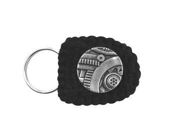 Keychain Coin Holder (W-KCN-103), black keychain, for him, for her, mini change purse, steampunk keychain, men women teen accessory