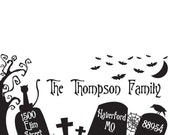 Custom Rubber Stamp - Halloween Tombstone Address, party invite and more