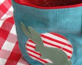 Bunny-Love Zippy Pouch -- Change Purse -- Makeup Bag (Teal, Pistachio and Red)