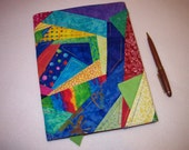SALE - Journal Cover - Primary Colored Crazy Quilt