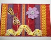 Fabric Postcard - Dragonfly and Flower - mixed media
