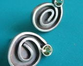 Gestural Sterling Spiral Earrings With Faceted Peridot
