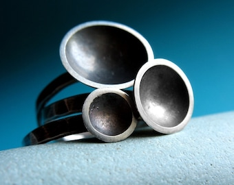 Set of Three Saucer Rings