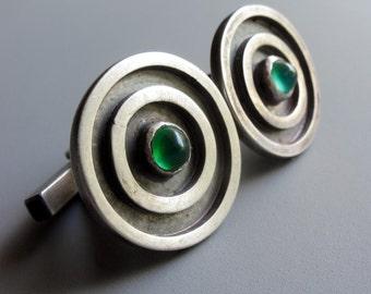 SALE Bulls Eye Cuff Links with Green Onyx