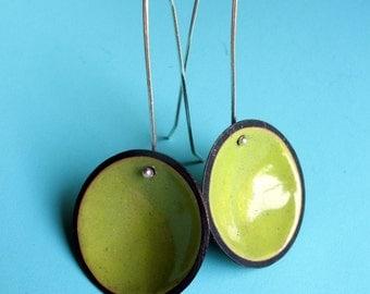 Acid Green Enameled Disc Earrings