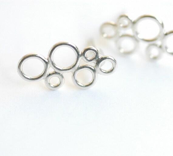 SALE -  Bubble Lace Earrings- leaf shaped solid sterling silver