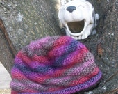 Hand Knit Striped Beanie Hat Teen / Women Small Wool / Soy Blend Purple Pink Plum READY TO SHIP
