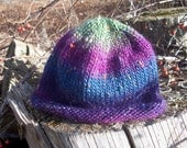 Hand Knit Toddler / Baby Hat purple / blue / green striped Boy or Girl READY TO SHIP