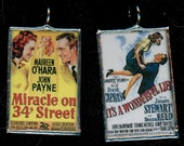Old Movie Christmas Classics It's a Wonderful Life and Miracle on 34th Street Art Glass Pendant