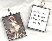 Vintage DEFINITION of a GIRL Art Glass Pendant Mothers Day New Baby