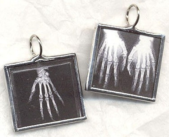 GIVE ME A HAND Skeleton X-ray Art Glass Pendant